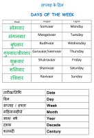 Hindi words for  Day-Date-Month-Year